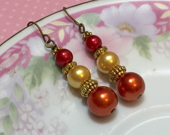 Pearl Earrings, Rustic Wedding Earrings, Fall Wedding Jewelry, Warm Red Yellow Orange Gold Pearls, Bridesmaid Jewelry