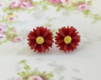 Dark Red Flower Earrings, Red Daisy Stud Earrings, Flower Girl Studs, Surgical Steel Studs,  Gerbera Daisy Studs (SE8)
