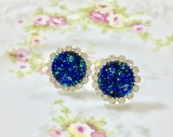 Blue Druzy Rhinestone Studs, Celestial Starry Night Studs, Rhinestone Earrings, Blue Drusy Studs, Druzy Jewelry (HJ3)