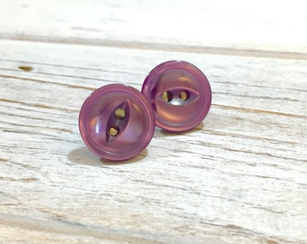 Purple Button Earrings, Purple Button Studs, Button Stud Earring, Iridescent Purple Stud Earrings, Vintage Button Jewelry, KreatedByKelly