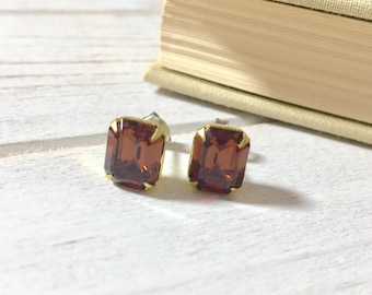 Smoke Topaz Rhinestone Studs, Brown Glass Earrings, Brown Rhinestone Stud Earrings, Vintage Style Rhinestone Stud Earrings, KreatedByKelly
