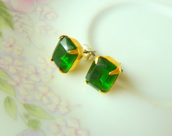 Vintage Estate Style Green Glass Rectangle Rhinestone Stud Earrings in Brass Settings with Surgical Steel Posts KreatedbyKelly