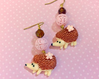Kawaii Hedgehog with Pink Flower Beaded Novelty Dangle Earrings with Surgical Steel Ear Wires