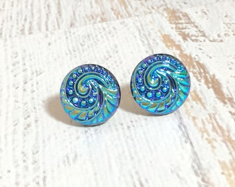 Blue Glass Studs, Czech Glass Stud Earrings, Shimmering Purple Blue Celestial Swirl Earrings Made With Vintage Czech Glass Buttons (GC)