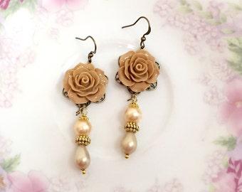 Brown Flower Earrings, Wedding Flower Earrings, Victorian Earrings, Pearl Earrings, Woodland Jewelry Handmade by KreatedByKelly