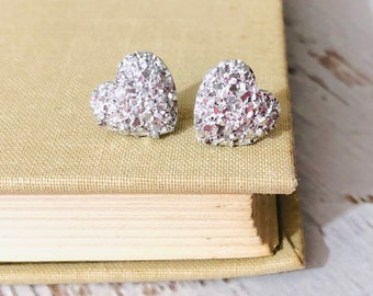 Sparkly Silver Small Druzy Heart Stud Earrings for Valentine's Day, Surgical Steel Posts (SE22)
