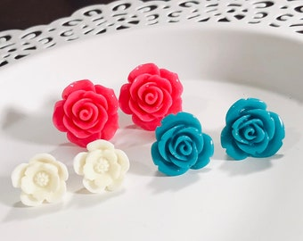 Large Flower Stud Earring Set with Roses in Teal and Pink and Off White Daisies, Surgical Steel