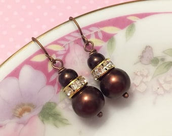 Brown Glass Pearl and Rhinestones Dangle Earrings, Simple Classic Short Drops