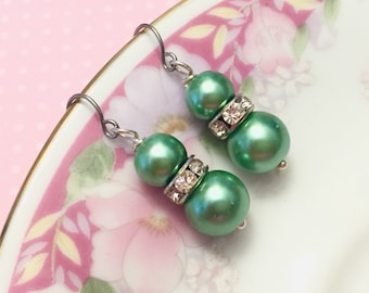 Green Pearl Earrings, Green Rhinestone Earrings, Green Pearl Drop Earrings, Short Dangle Earrings, Green Earrings, KreatedByKelly