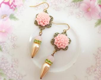 Pink Flower Drop Earrings, Romantic Victorian Earrings, Pink Wedding Jewelry, Mint Green Rhinestones, Vintage Pearl, Handmade KreatedByKelly