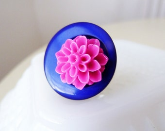 Cocktail Ring, Pink Cabochon Flower Ring, Button Flower Ring in Bright Pink Blue, Quirky Chrysanthemum Ring, Handmade By KreatedByKelly