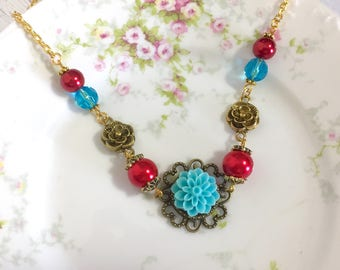 Aqua Chrysanthemum Beaded Red Pearl Vintage Style Flower Necklace