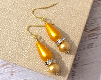 Bright Yellow Glass Pearl and Rhinestone Beaded Dangle Drop Earrings with Surgical Steel Ear Wires