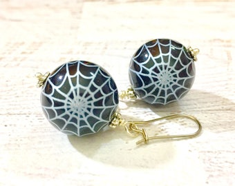 Big Black Bubblegum Ball Bead Dangle Earrings with Creepy White Spiderweb for Halloween, Surgical Steel