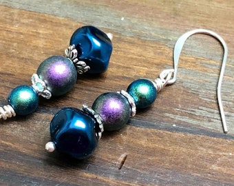 Peacock Inspired Beaded Earrings in Royal Blue, Purple and Green