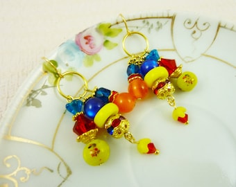 Colorful Carnival Glass Beaded Charm Cluster Dangle Earrings in Red Blue Orange Yellow with Surgical Steel Ear Wires