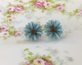 Blue Flower Earrings, Blue Daisy Stud Earrings, Flower Stud Earrings, Surgical Steel Studs,  Gerbera Daisy Studs, KreatedByKelly (SE8)