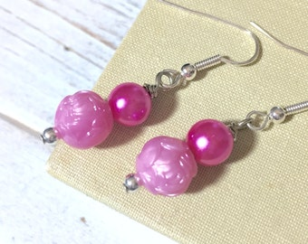Pink Earrings, Pink Flower Earrings, Pink Pearl Earrings, Surgical Steel Earrings, Affordable Jewelry, Flower Girl Earrings, KreatedByKelly