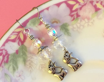 Cat Lover Gift, Silver Cat Earrings, Retro Cat Earrings, Affordable Jewelry, Animal Lover Gift, Upcycled Jewelry