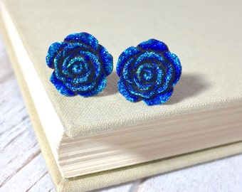 Sparkling Blue Flower Stud, Blue Rose Stud, Glitter Druzy Flower Stud, Stainless Steel Stud, Night Flower Studs (SE9)