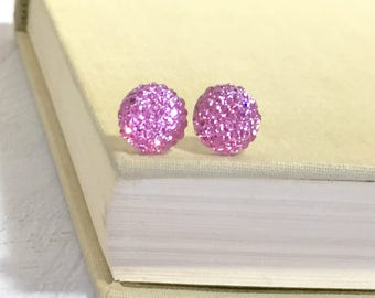 Little Light Pink Sparkling Bumpy Druzy Round Circle Stud Earrings with Surgical Steel Posts (SE13)