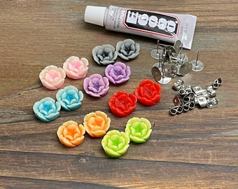 Resin Flower Stud Earring Kit, Includes Colorful Flower Cabochons, Stainless Steel Ear Stud Blanks, Stainless Steel Push Backs and Glue