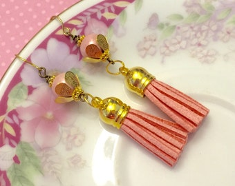 Leather Tassel Earrings, Pink Earrings, Hippie Bohemian Earrings, Ceramic Bead Jewelry, Trendy Tassel Earrings, KreatedByKelly