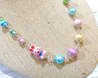 Pastel Beaded Necklace, Porcelain Rabbit Necklace, Pink Bunny Necklace, Easter Statement Necklace, Kawaii Necklace, KreatedbyKelly