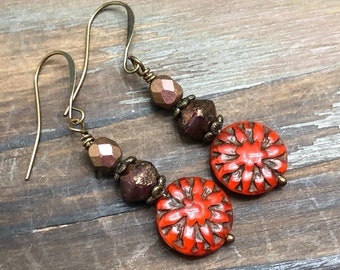 Czech Glass Flower Beaded Earrings in Red and Brown, Perfect to Coordinate with Fall or Autumn Clothing