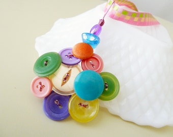 Button Pendant with Ribbon Necklace in Carnival Pastels, Repurposed Jewelry, Vintage Button Necklace, Rainbow Necklace, Pastel Necklace