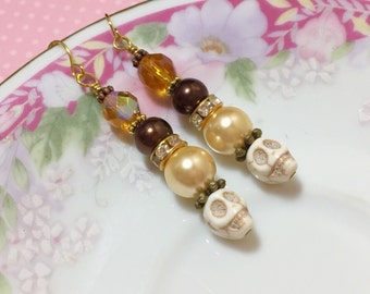 Fancy Skull Earrings, Day of the Dead Earrings, Dia de Los Muertos Jewelry, Warm Fall Pearls and Skulls Earrings, Brown Yellow Cream (DE2)