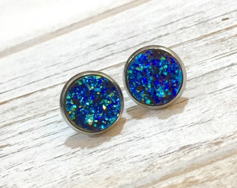 Blue Druzy Studs, Blue Druzy Stud Earrings, Blue Stud Earrings, Bumpy Studs, Glitter Stud Earrings, BlueDruzy in Silver Setting (SE5)
