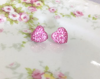 Little Light Pink Sparkling Bumpy Druzy Valentine's Day Heart Stud Earrings with Surgical Steel Posts (SE13)