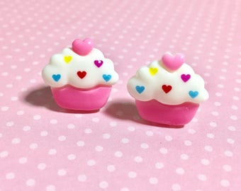 Pink Cupcake Studs, Valentine Cupcake Studs, Pink Cupcakes with Heart Icing and Red Cherry on Top, Food Studs, Kawaii Studs, Cute Studs