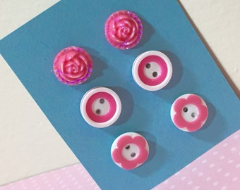 Surgical Steel Stud Earrings Gift Set, Pink Flowers and Buttons (ES1)