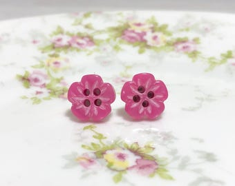 Heavily Carved Iridescent Dark Pink Five Petal Flower Sewing Button Stud Earrings with Surgical Steel Posts (LB1)