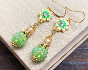 Enameled Lime Green Purple Rhinestone Flower Earrings with Sparkly Ball Bead, Rhinestone, Gold Toned Findings and Pearl Dangle
