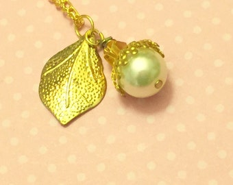 Pearl Acorn Necklace, Gold Leaf Necklace, Nature Jewelry, Woodland Necklace, Handmade By KreatedByKelly