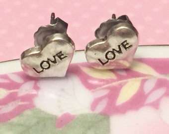 Small Silver Metal Hearts Stamped With Love Perfect for Valentine's Day, Surgical Steel Posts