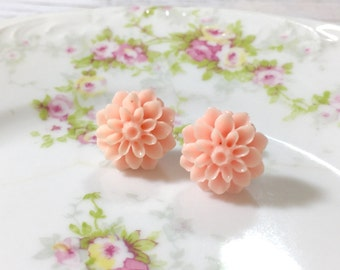 Pink Flower Earrings, Peachy Pink Chrysanthemum Flower Studs, Bridesmaid Gift Earring, Pink Dahlia Stud, Surgical Steel, Pink Mum Stud (SE5)
