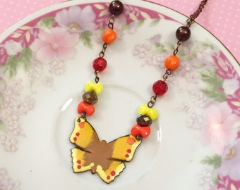 Butterfly Necklace, Enamel Necklace, Vintage Assemblage Necklace, Hippie Boho Necklace, Yellow Butterfly, Orange Red Brown, KreatedByKelly