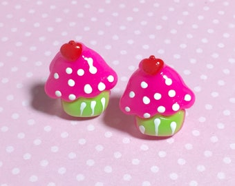 Kitsch Stud Earrings, Cute Pink Cupcakes with Heart Cherry on Top, Kawaii Post Earrings, Cupcake Earrings, Food Earrings (LB5)