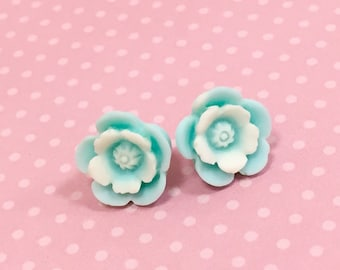 Blue Flower Earrings with Ivory Center, Bridesmaid Gift Earrings, Flower Post Earrings, Surgical Steel Posts, KreatedByKelly (LB3)