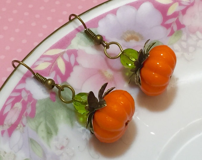 Featured listing image: Pumpkin Earrings, Autumn Drop Earrings, Thanksgiving Jewelry, Orange Pumpkin Earrings, Fall Earrings, Lightweight Earrings, Kawaii Jewelry