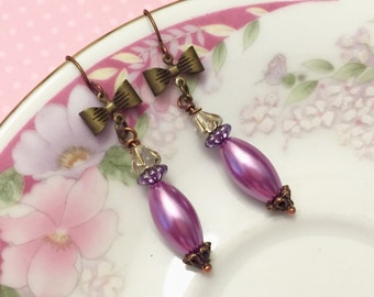 Purple Bow Earrings, Vintage Assemblage Earrings, Purple Pearl Earrings, Quirky Bow Earrings, Purple Flower Earring, Handmade KreatedByKelly