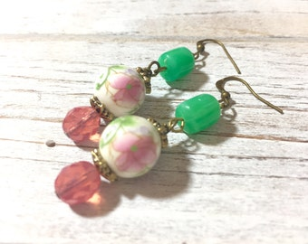 Pink Flower Earrings, Floral Earrings, Mint Green Dangle Earrings, Assemblage Jewelry, Vintage Beaded Earrings, Floral Ceramic Bead Earrings