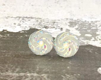 White Galaxy Studs, Celestial Studs, Iridescent Clear Druzy Studs, Clear Rhinestone Studs, Surgical Steel Studs, KreatedByKelly (SE12)