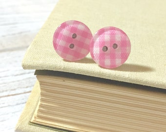 Bubblegum Pink Plaid Gingham Sewing Button Stud Earrings with Surgical Steel Posts