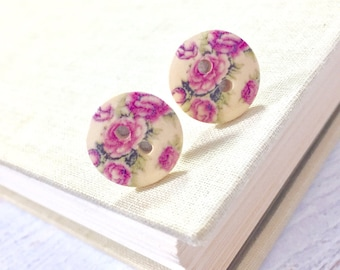 Natural Wood Button Stud Earrings with Lavender Cottage Rose Flower Design, Surgical Steel, 15mm (SE5)