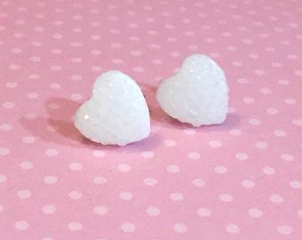 Little Heart Studs, Sparkle Heart Studs, Kawaii Studs, White Heart Studs, Glitter Heart Studs, Surgical Steel Studs, Valentine's Day (SE4)